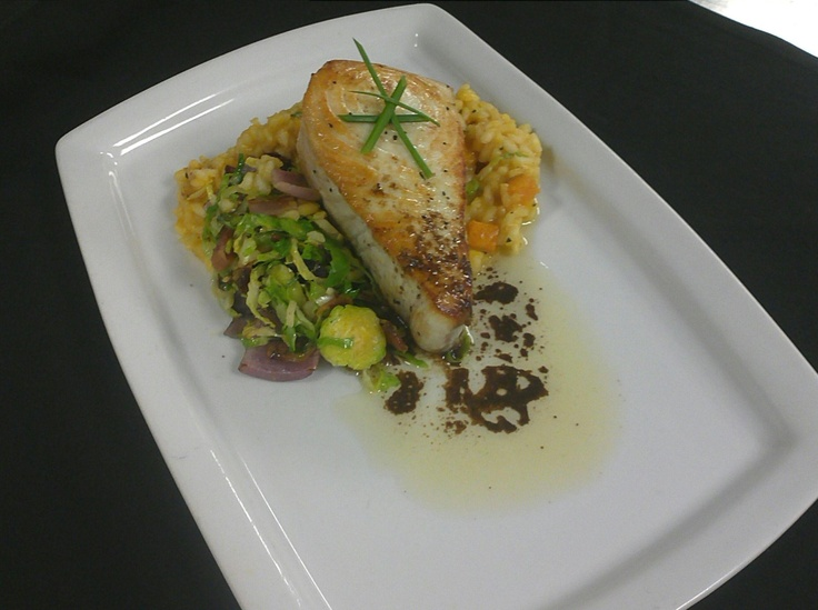 Seared Wahoo served with butternut squash risotto, bacon ...