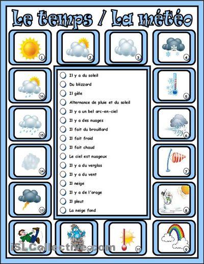 Le temps / La météo fiche d'exercices - Fiches pédagogiques gratuites FLE