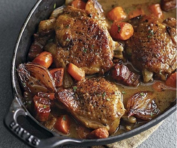 Wine-Braised Chicken with Shallots and Pancetta | Recipe