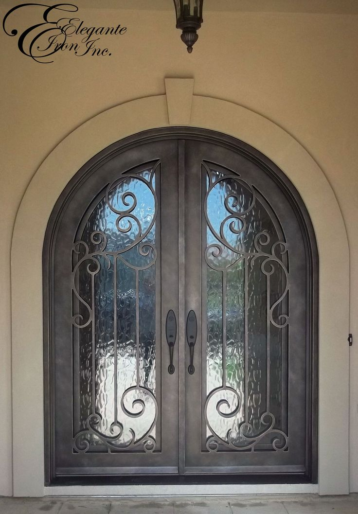 Wrought iron front door double doors pinterest for Wrought iron front doors