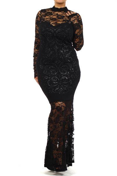 Plus Size Black Lace Maxi Dress 120