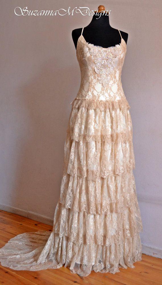 Cream lace bohemian wedding dress long bridal by suzannamdesigns