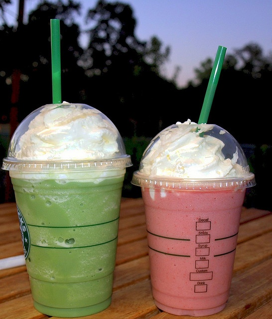 Iced Green Tea & Strawberry Creme Frappucinos from Starbucks. It's no...