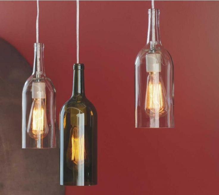 Recycled wine bottle hanging lights lights pinterest - Wine bottle light fixtures ...