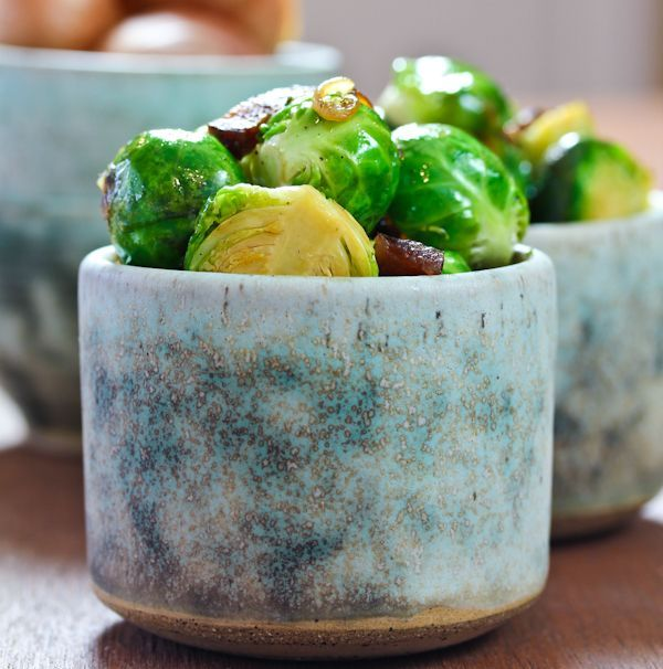Braised Brussels Sprouts with Shallots, Bacon and Beer
