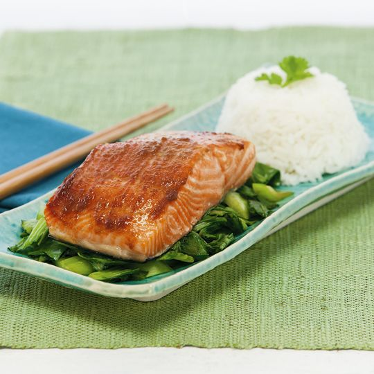 Miso & Ginger Glazed Salmon with Stir Fried Bok Choy | Recipe