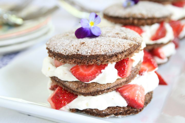 Chocolate Strawberry Shortcake made of thin rounds of moist, tender ...