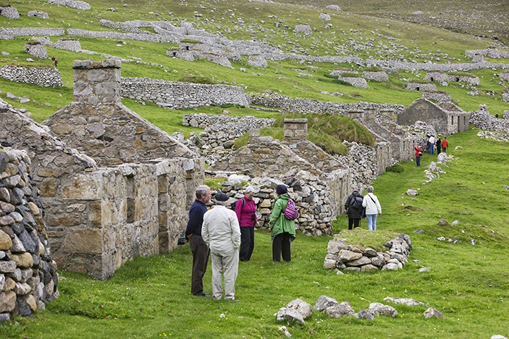 St Kilda: Scotland.   The deserted houses and storage cleats of Village bay