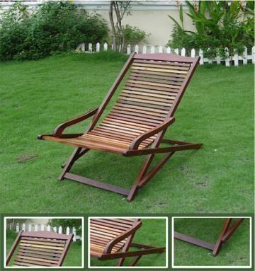 Outdoor Reclining Wood Lounge Chair Garden
