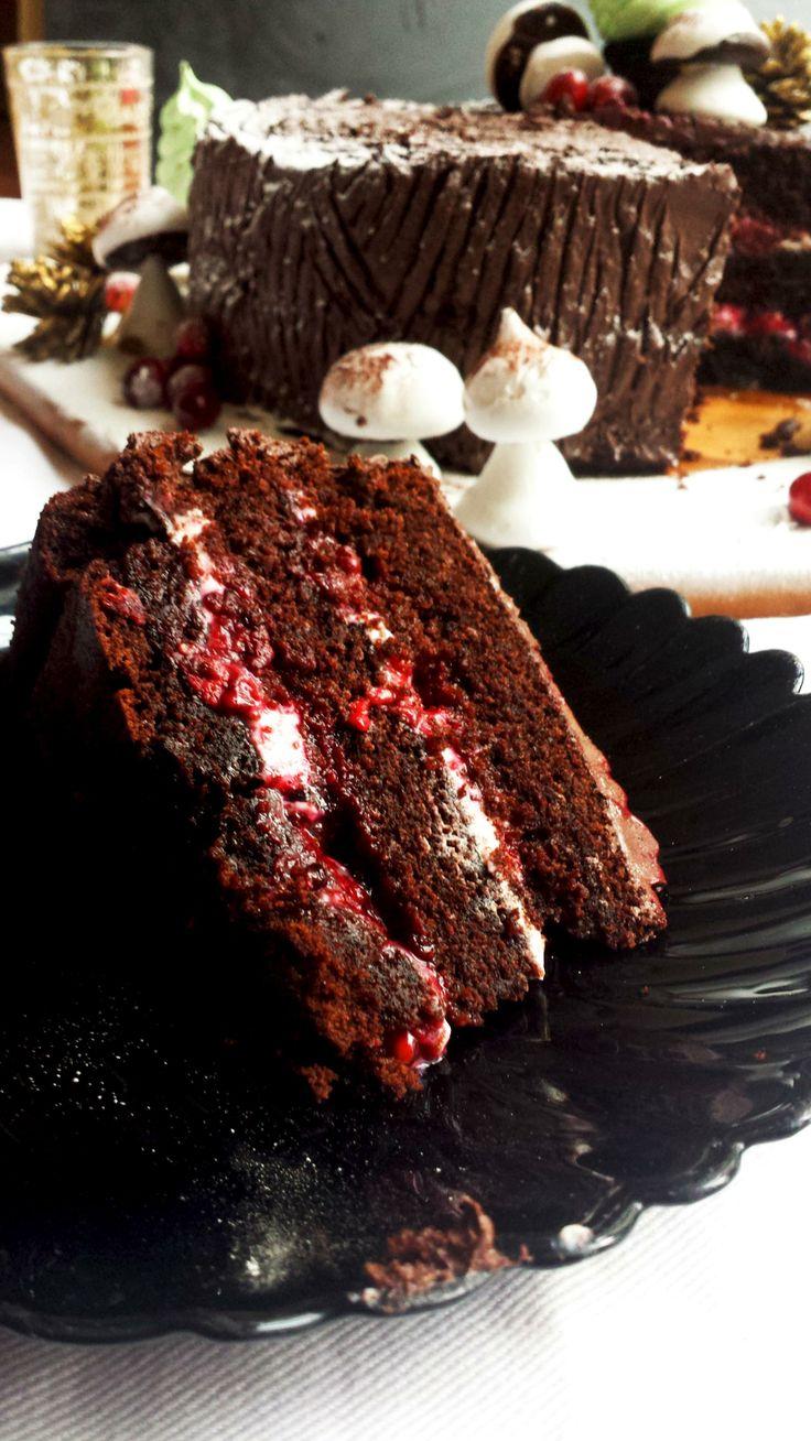Black Forest Yule Stump Cake Recipe — Dishmaps