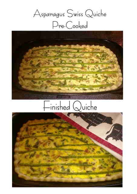 Swiss Quiche: bacon strips, onion, fresh asparagus, swiss cheese ...