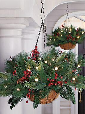 Battery Powered Evergreen Hanging Basket - Lighted Pine Basket ...