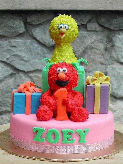 Elmo & Big Bird Cake