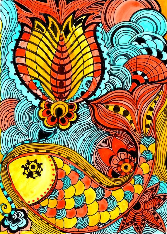 FISH Fine art PRINT yellow orange blue ink and by devikasart, $12.00