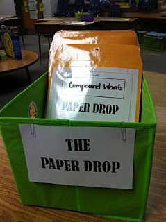 """The Paper Drop"" for turning in papers during centers. Students cross off their names on a checklist on the back of each folder as they turn in each paper."
