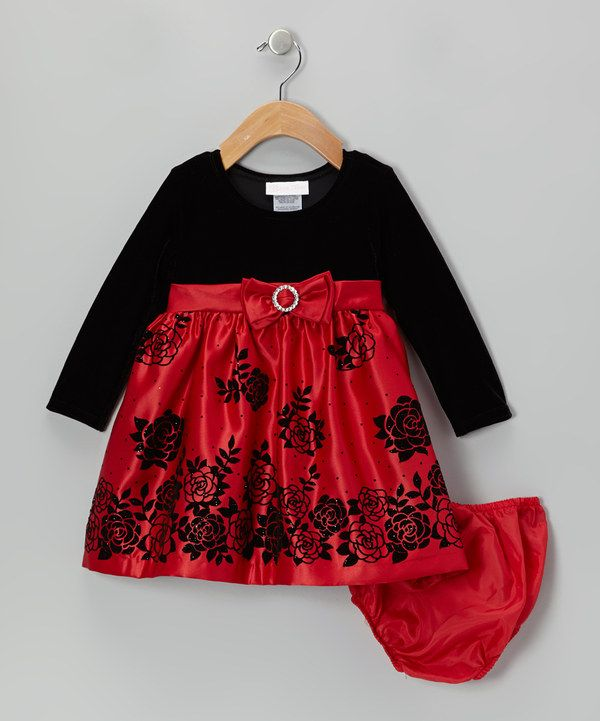 Look at this gerson amp gerson red amp black rose velvet dress amp