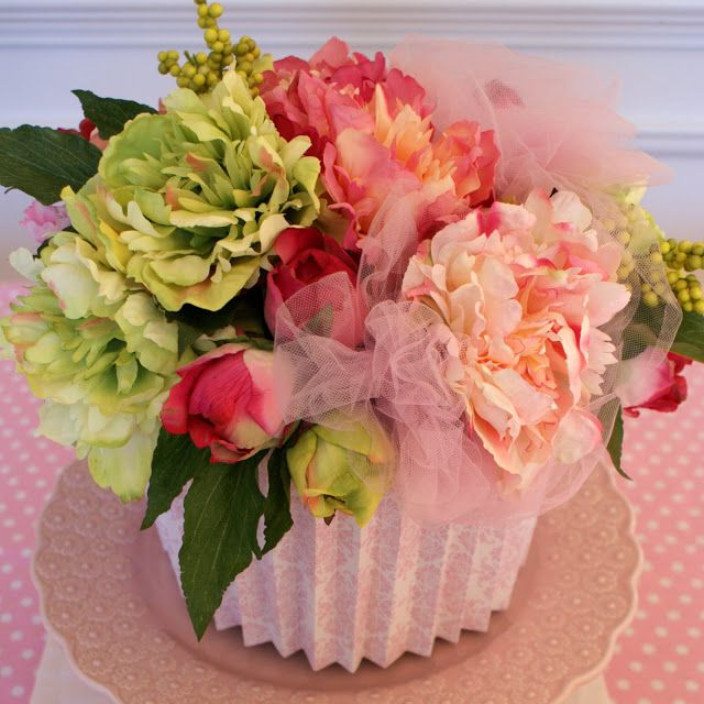 Silk floral cupcake centerpiece ladybird party ideas