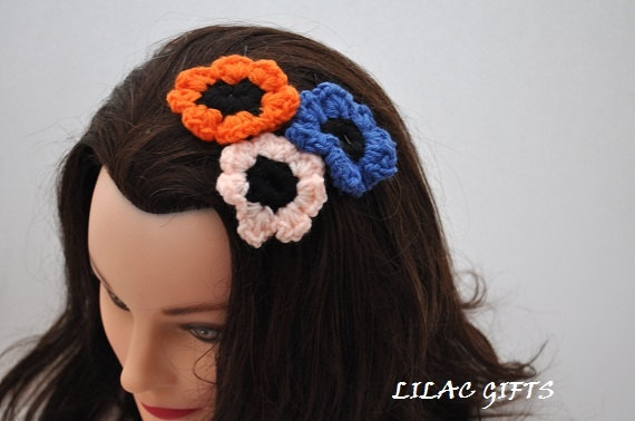 Crochet Bobby Hair Pin, Crochet Flower Hair Clips, set of 3, blue,ora ...