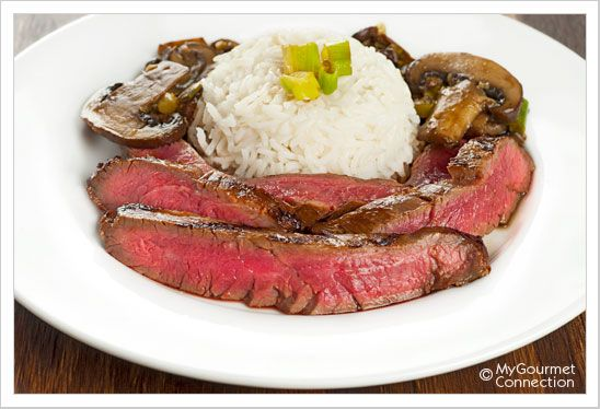 Flank Steak with Mushrooms: Flank steak marinated in soy sauce, honey ...