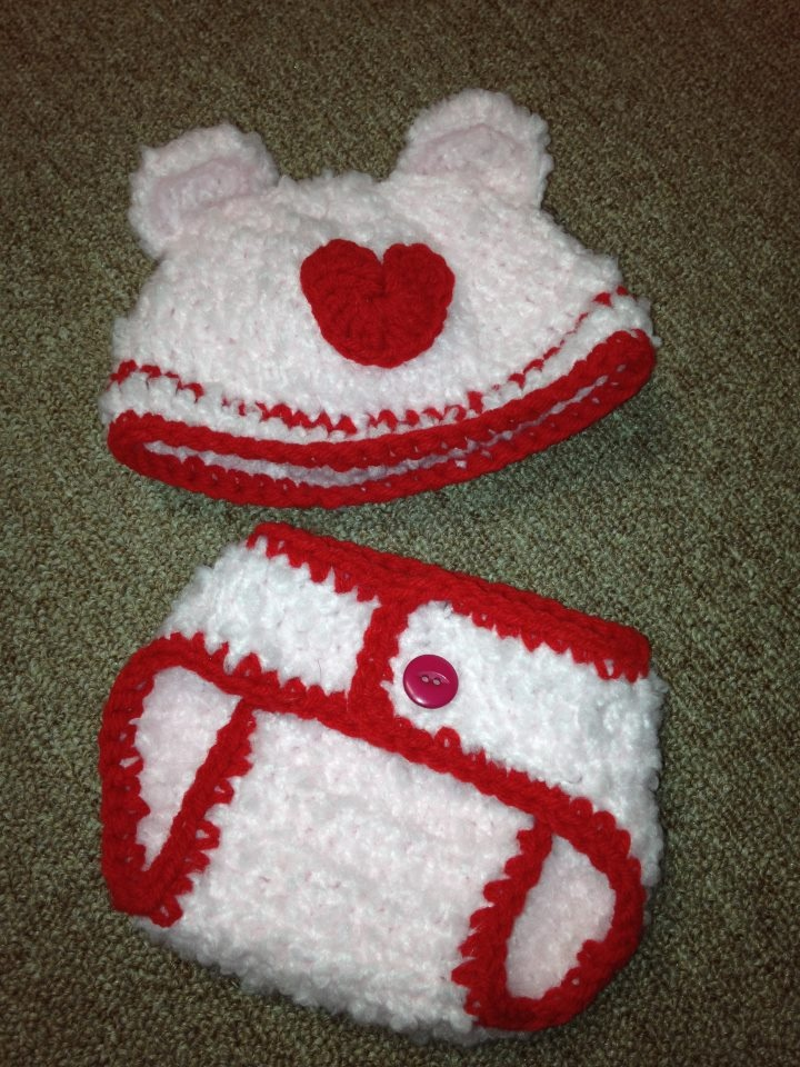 valentine's day baby hats