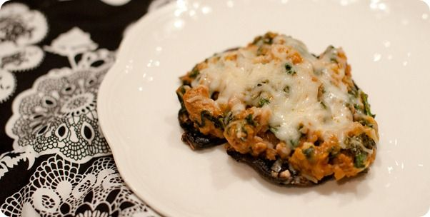 STUFFED PORTOBELLO MUSHROOMS with SPINACH, SAUSAGE, and CHEESE