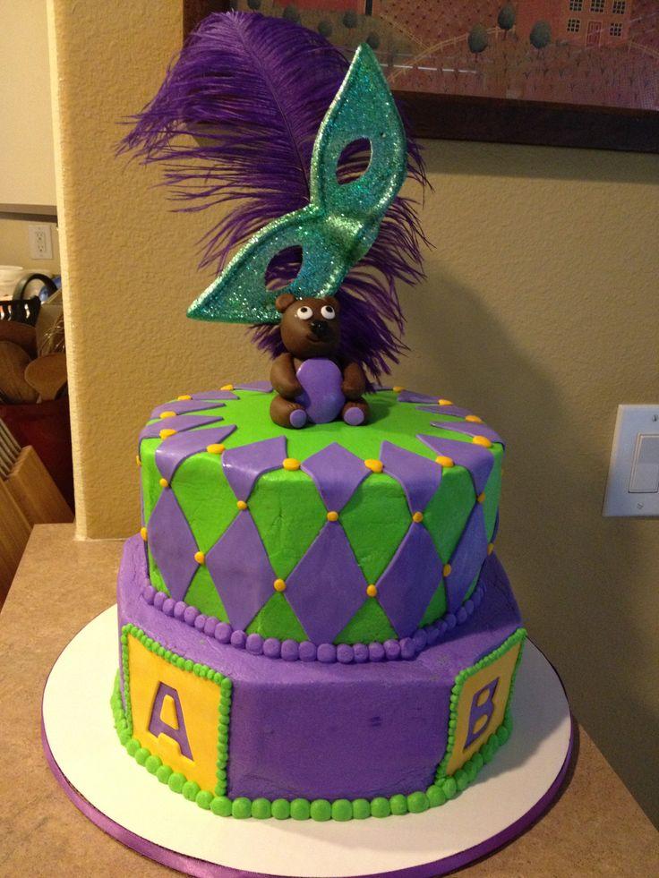 mardi gras theme baby shower cake cakes nom nom nom pinterest