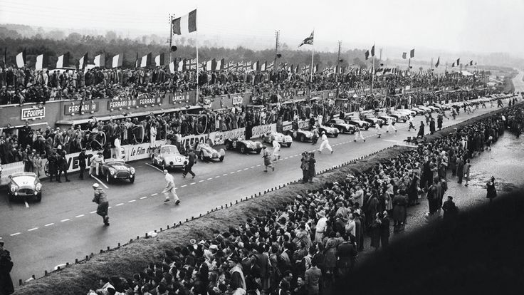 The start of the 1951 24 Hours of Le Mans.  Peter Walker and Peter Whitehead won the event with a Jaguar C Type. In second came a Talbot Lago T26 and in third an Aston Martin DB2, more than 10 laps behind the first.