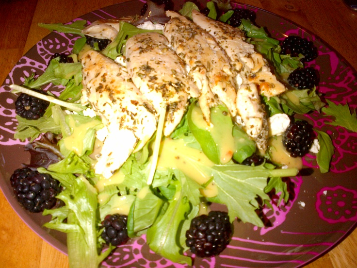 ... Chicken and Goat Cheese Salad with Mango Vinaigrette..sounds yummy