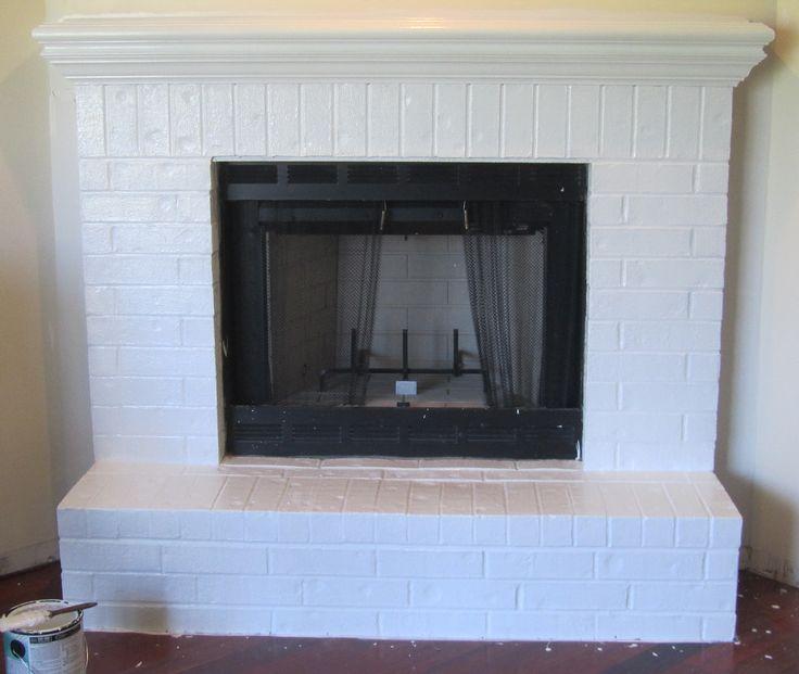White Brick Fireplace Mantle Idea