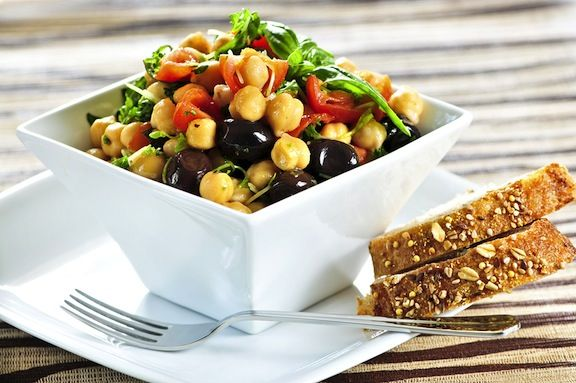 Chickpea Salad with Tomatoes and Basil (or serve with Pasta)