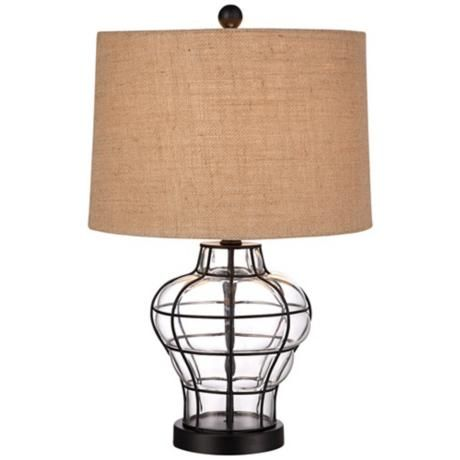 blown glass table lamp i love the combination of burlap and glass. Black Bedroom Furniture Sets. Home Design Ideas