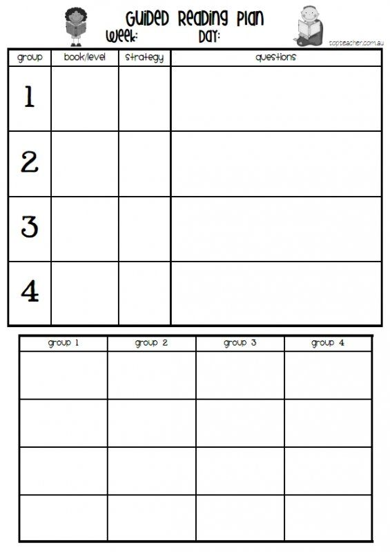 Guided Reading Template (Clear and Concise) Guided Reading Template ...