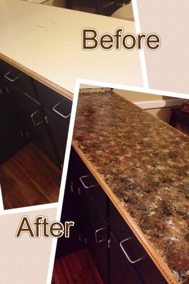 Painted countertops! Tinted primer, acrylic paint, sea sponge, and ...