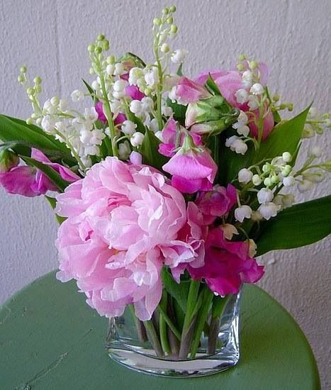 peonies sweet peas lily of the valley flowers gardening pint
