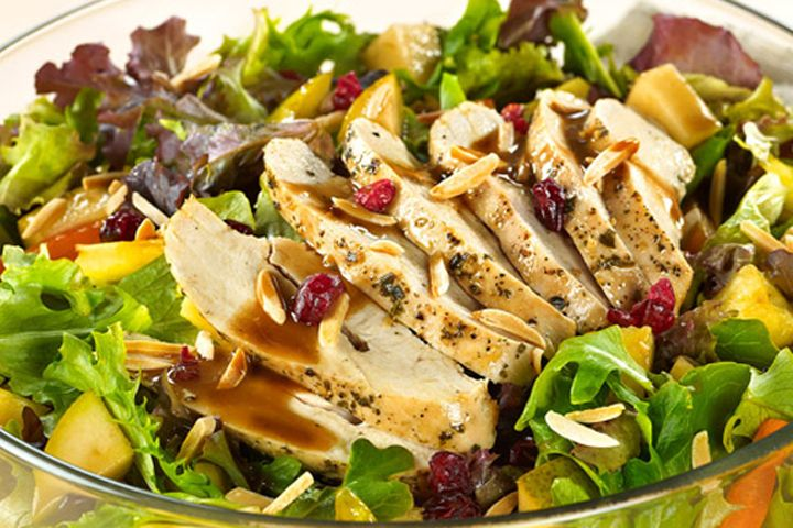 Mediterranean Chicken Salad with Almonds and Balsamic Pears