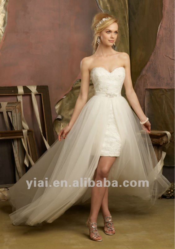 Brd346 Short Removable Tulle Skirt Applique Wedding Dress Buy Weddi