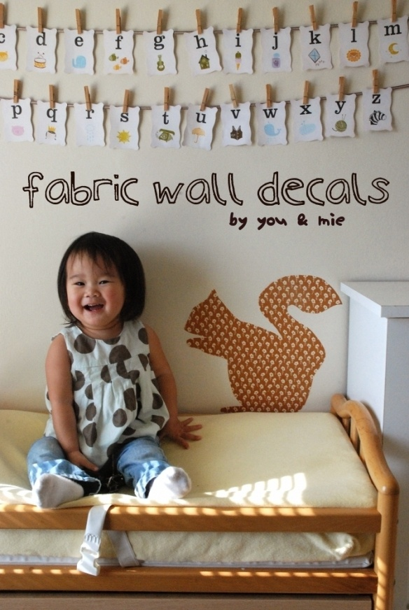 DIY fabric decals just out of fabric and spray- or cornstarch