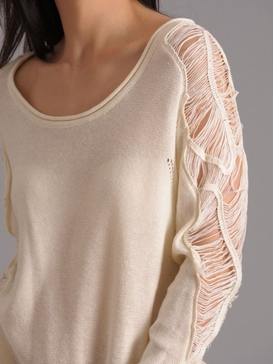 shredded sleeve sweater 2 | Craft Ideas | Pinterest