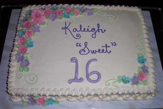 Cake Decorating Ideas For Sweet 16 : sweet 16 sheet cake with flowers Cakes and Cupcakes ...