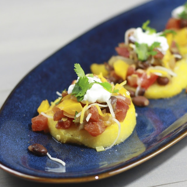 Mexican polenta stacks - veggie option, meatless but could easily add ...