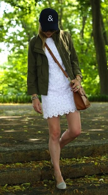 Street Style: Lilly Pulitzer White Villa Sweater Dress and a Lightweight Military Jacket from Urban Outfitter