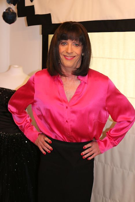 pink satin blouse at the cross-dressing boudoir