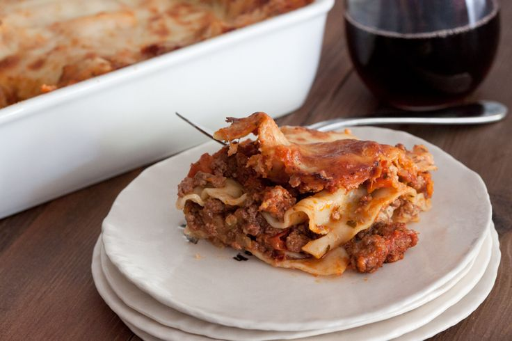 Three Meat Lasagna with bechamel sauce between layers instead of ...