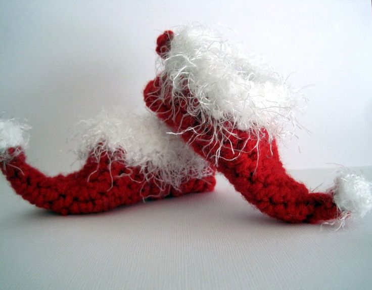 Crochet Baby Santa Booties Pattern : Crochet Elf Slippers Baby Booties Christmas Booties Santa ...