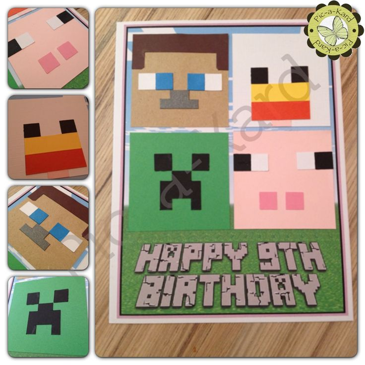 How to make a minecraft birthday card minecraft birthday cards minecraft steve papercraft cards birthday party ideas bookmarktalkfo Images