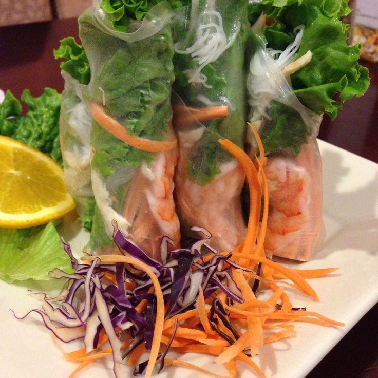 Summer rolls with shrimp pork lettuce mints noodles carrots and bean ...