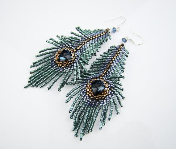 Peacock feather earrings seed bead earrings denim by 7PMboutique, $35.00