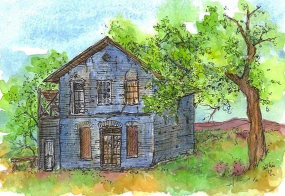 Blue Cottage House Original Watercolor For The Home