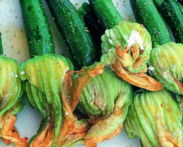 Non-fried yet delicious squash blossoms stuffed with goat cheese