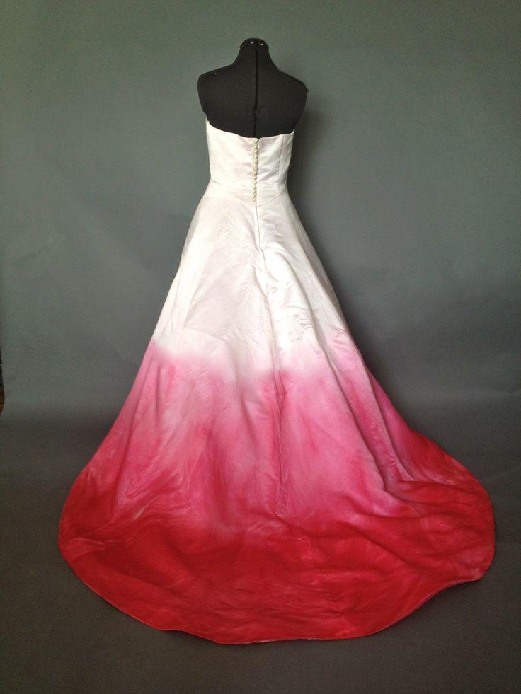 Strapless Silk Pink Ombre Wedding Dress